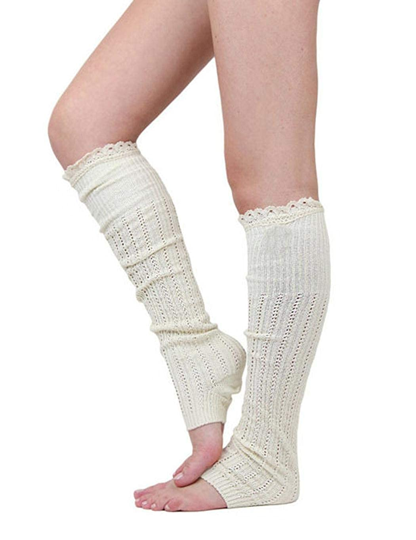 Zronji 1 Pair Women Casual Solid Lace Leg Warmers Socks Knitted Socks
