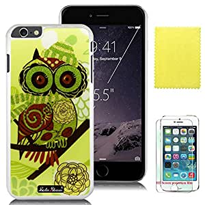 SoloShow® Apple Iphone 6 Plus 5.5 Inch Case Beautiful Fashion Cute owl Case with Slim Fit Case Advanced Shock Absorption Protection + Screen Protector for Apple Iphone 6 Plus 5.5 Inch (White PC & Cute owl )