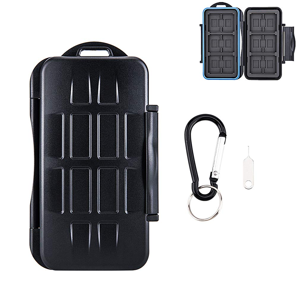 36 Slots Water-Resistant Memory Card Case SD MSD Card Holder Storage for 6 CF + 12 SD + 18 Micro SD Cards, with Carabiner + Card Tray Removal Eject Pin Key / Color: Black body + Blue Seal Ring by Kiorafoto