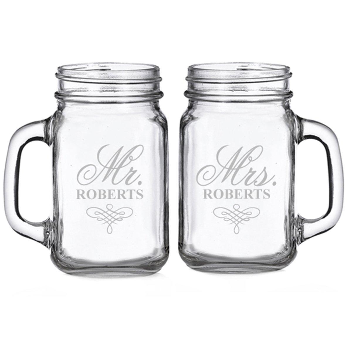 Mr. and Mrs. Elegant Script Swirl Personalized Glass Mason Mugs (set of 2)