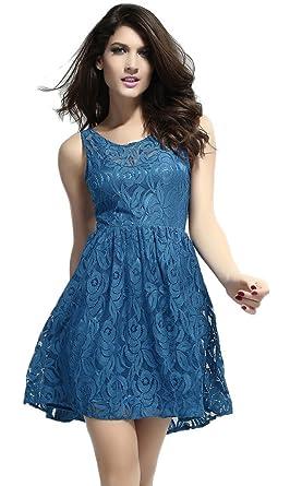 La vogue Rückfrei Evening Dress Prom Cocktail Party Evening Clubwear Short - Blue - One size