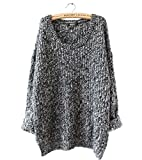 BESYL Women's Plus-Size Plain Long Sleeve Relaxed Casual Sweater (Grey)