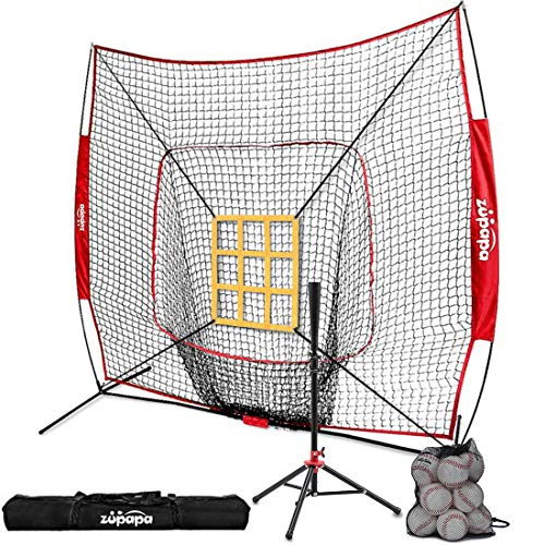 Zupapa 12 Pack Baseballs & Tee & 7' x 7' Baseball Softball Hitting Pitching Net Practice Set, Bonus Upgraded Vivid Strike Zone, Practice Hitting, Pitching, Batting and Catching Great for All Ages ()