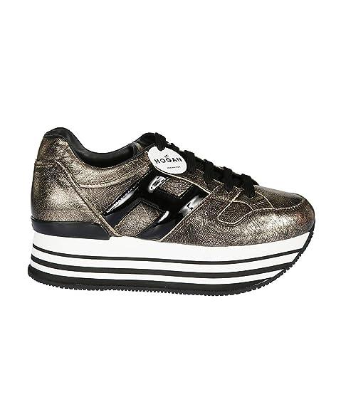 Hogan H283 Maxi H222 Sneakers Donna Allacciata Oro Pallido H Grande Nera   Amazon.it  Scarpe e borse be8d1e59312