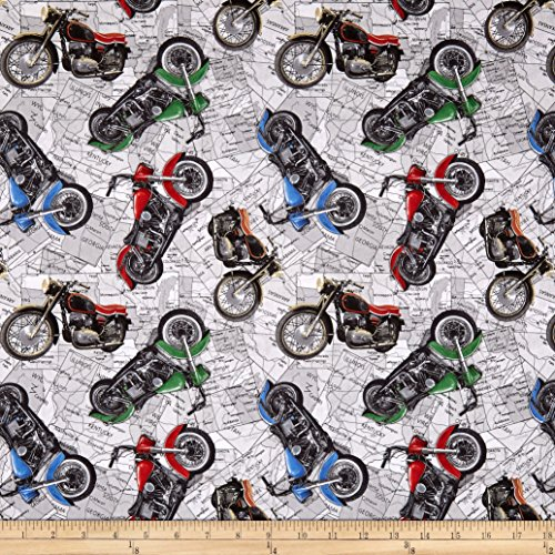 Blank Quilting Coast Motorcycles Fabric by the Yard, Gray