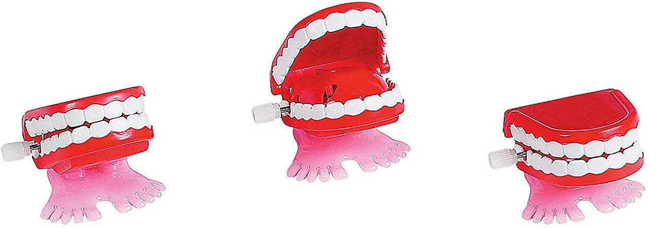 The Dreidel Company Wind Up Teeth Chomping /& Chattering Teeth with Googly Eyes Toys for Kids Birthday Party Favors 2-Pack 1.75 Inches Novelty and Gag Gifts