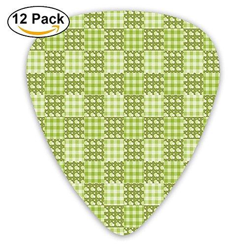 Newfood Ss Polka Dots And Checkered Pattern Textured Patchwork Simplistic Artwork Guitar Picks 12/Pack Set