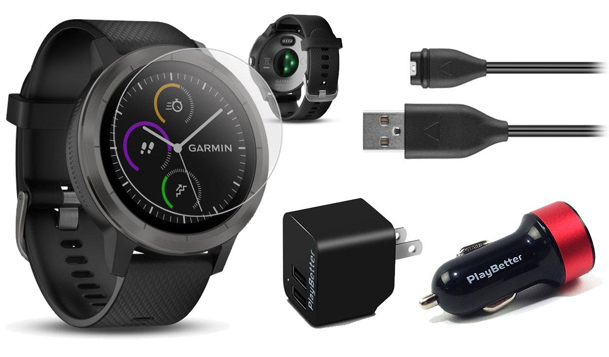 Garmin vivoactive 3 (Black/Slate) Power Bundle with HD Glass Screen Protectors (x2), PlayBetter USB Wall & Car Charging Adapters   Multisport GPS Smartwatch, Touchscreen, On-Wrist HR, Garmin Pay