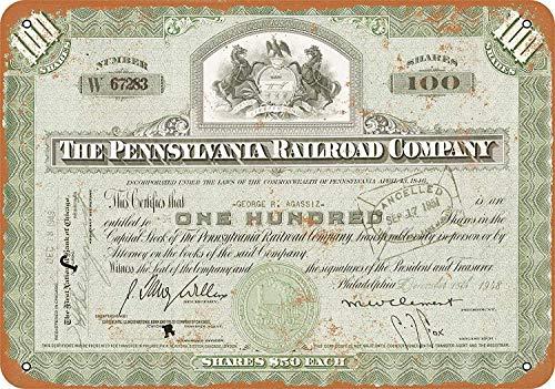 (SRongmao 12 x 16 Metal Sign - Vintage Look Certificate Art - 1948 Pennsylvania Railroad Stock Certificate)