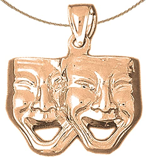 14K Rose Gold-plated 925 Silver Drama Mask Laugh Now Pendant with 16 Necklace Jewels Obsession Drama Mask
