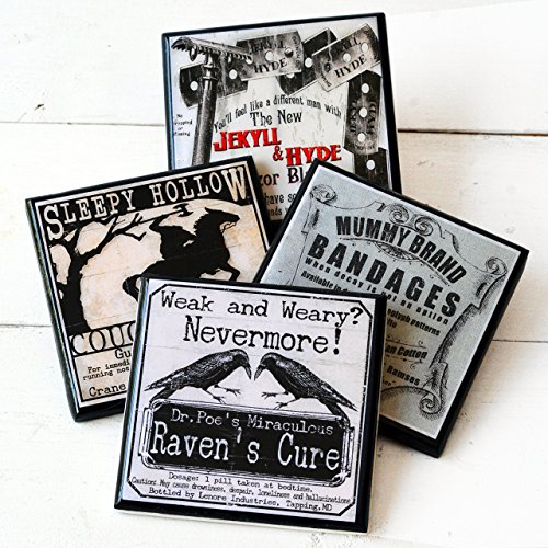 (Funny, Gothic Halloween Literary Drink Coaster)