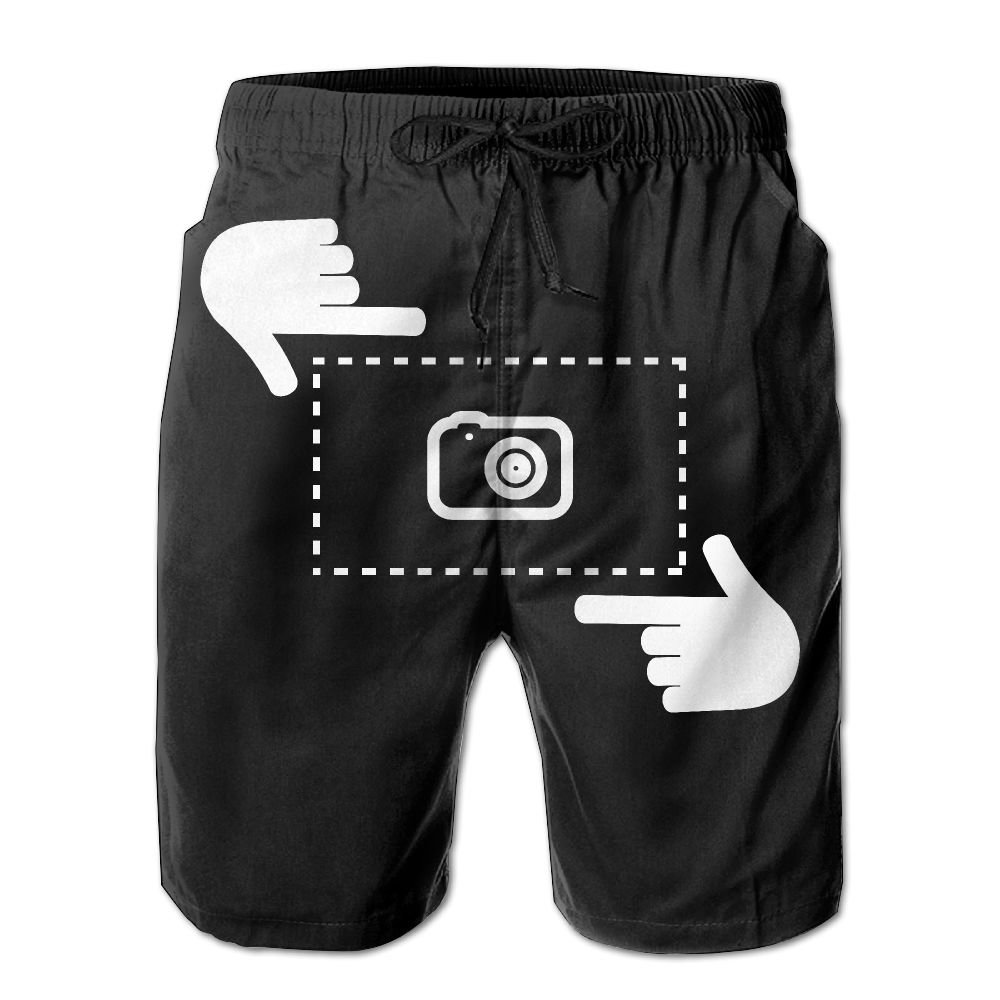 ZAPAGE Men Quick Dry Swim Trunks Take A Picture Swimwear Board Shorts With Pockets