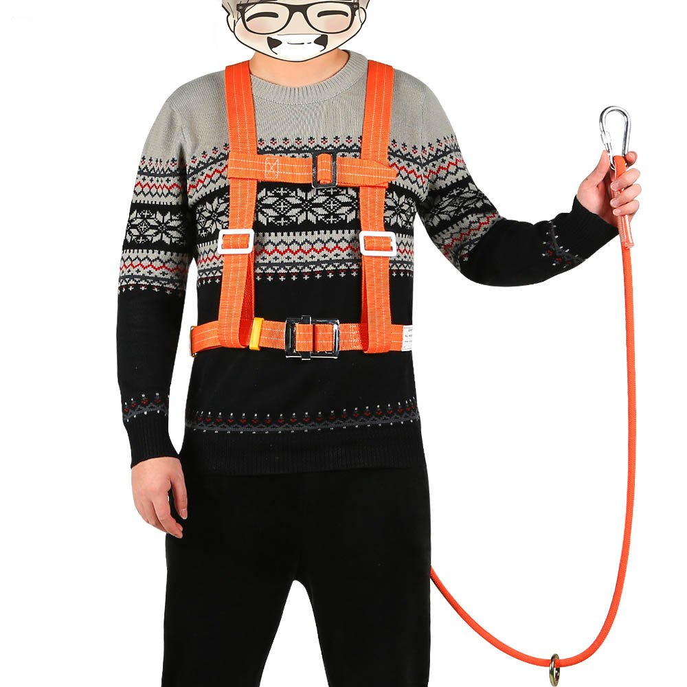XINDA Outdoor Aerial Protection Belt Anti Falling Safety Hook High Altitude Operation Wear-Resistant Climbing Polesafety Belt (蓝色) by XINDA (Image #6)