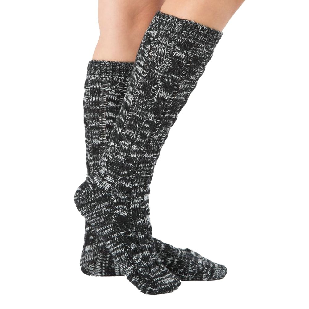 OVOV Women's Christmas Fuzzy Slipper Sock Ladies Warm Funny Cable Knit Socks Leg Warmers (Black)