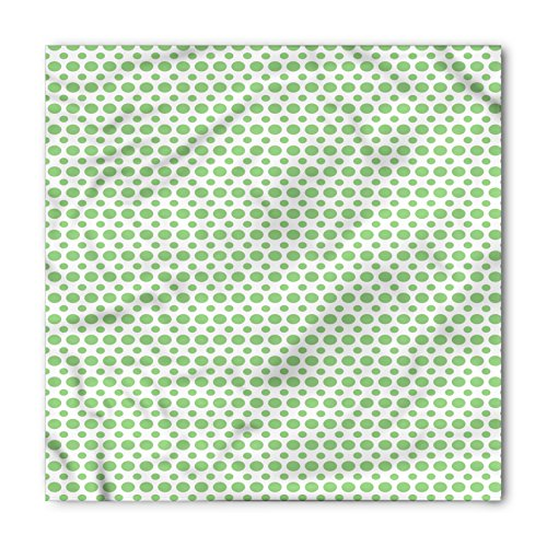Green Bandana by Ambesonne, 60s 70s Pop Art Inspired Retro Green Polka Dots Circles Vintage Design Art, Printed Unisex Bandana Head and Neck Tie Scarf Headband, 22 X 22 Inches, Fern Green and (60s 70s Green)
