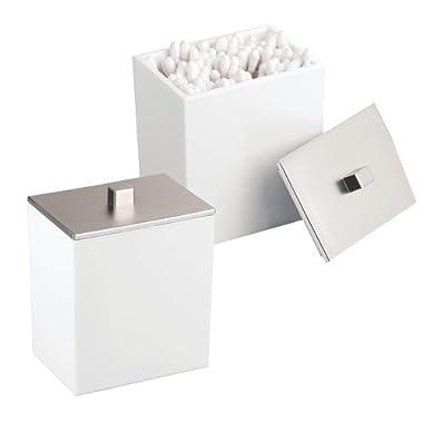 mDesign Modern Square Bathroom Vanity Countertop Storage Organizer Canister Jar Cotton Swabs, Rounds, Balls, Makeup Sponges, Beauty Blenders, Bath Salts - 2 Pack, White/Brushed Lid