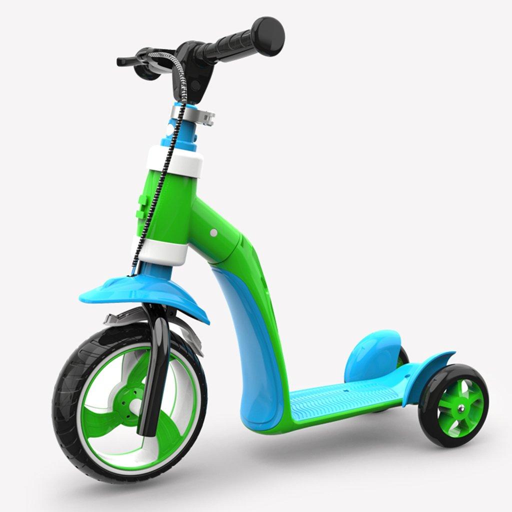 正式的 スクーター折りたたみ式の子供の漫画多機能の乗り物の幼児の手のプッシュ3つのラウンドPUホイールは3-12歳に座ることができます Green B07FRT83YW B07FRT83YW Green Green Green, 垂井町:b8fc19b9 --- a0267596.xsph.ru