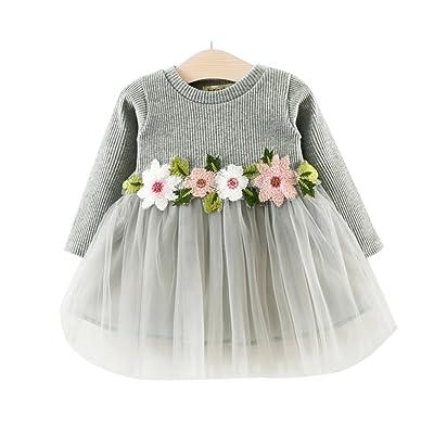 BogiWell Toddler Girls Spring Long Sleeve Floral Jersey Dress
