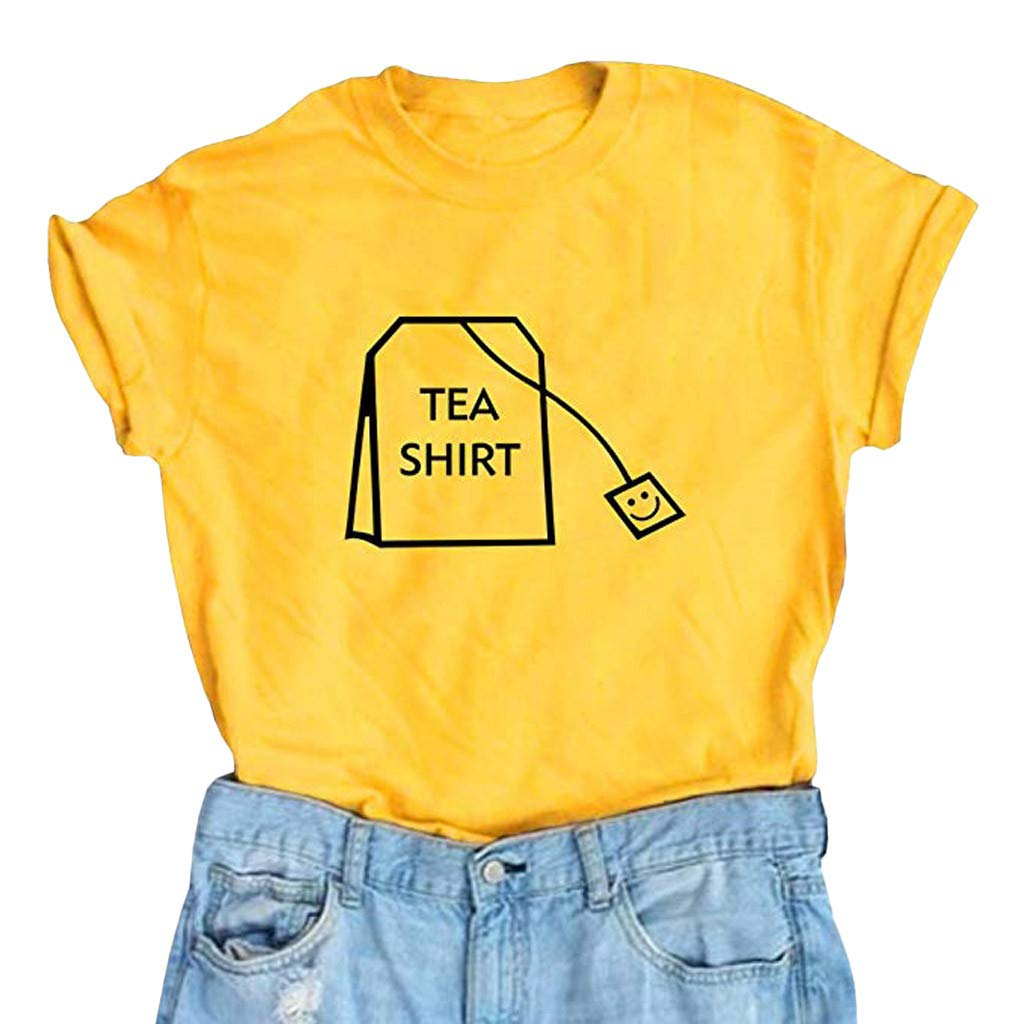 Malbaba Women Girl Funny Short Sleeve Cotton Shirts Cute Junior Graphic Tee Top Blouse Yellow