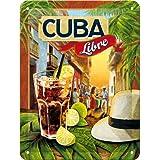 Nostalgic-Art 40361132614 Cartello Cocktail-Time - Cuba Libre, Acciaio, Multicolore, 20 x 15 x 0.2 cm
