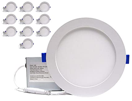 uk availability eb309 64a9e YUURTA (10-pack) 6 Inch 12W LED Pot Light (Downlight) 4000K (Pure White)  Dimmable 840 Lumens Ceiling Recessed Round White Trim Slim Light Panel with  ...