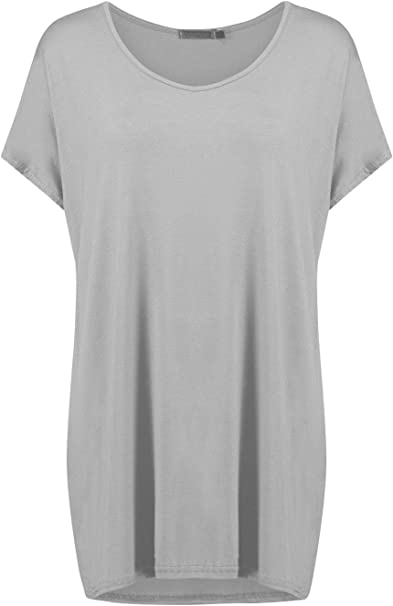 Ladies Stretch Womens Oversized Loose Fit Short Sleeve Batwing T Shirt Tee Top