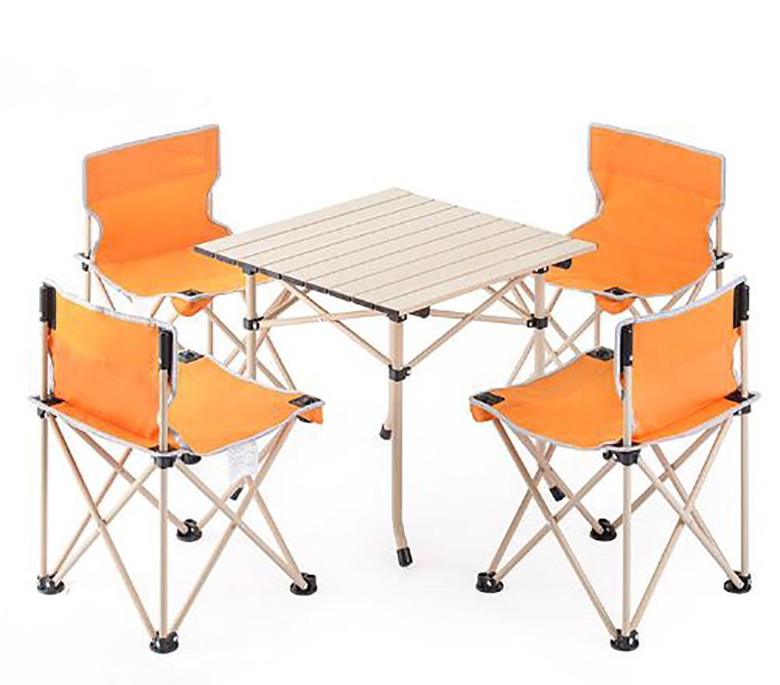 KOKR Outdoor Klapptisch + 4 x Campingstühle Set, Gartenmöbel Campinggarnitur