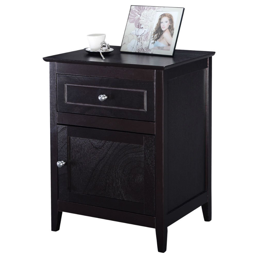 Accent End Table Nightstand Bedroom Living Room Furniture Espresso Beechwood