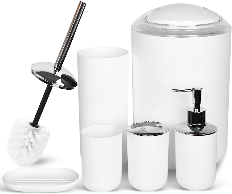 Amazon Com Cerbior Bathroom Accessories Set Bath Ensemble Includes Soap Dispenser Toothbrush Holder Tumbler Soap Dish For Decorative Countertop And Housewarming Gift Snow White Home Kitchen