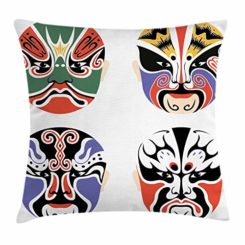 Asian Tribal Masks (Kabuki Mask Throw Pillow Cushion Cover by Ambesonne, Traditional Chinese Cultural Opera Mask Set Collection Asian Tribal Art Theme, Decorative Square Accent Pillow Case, 26 X 26 Inches, Multicolor)
