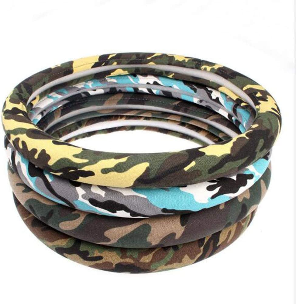 Jungle Green Carmen Linen Auto Car Steering Wheel Cover Camo Durable No Smell Sweat Absorption Universal 15 Inch Steering Wrap Cover