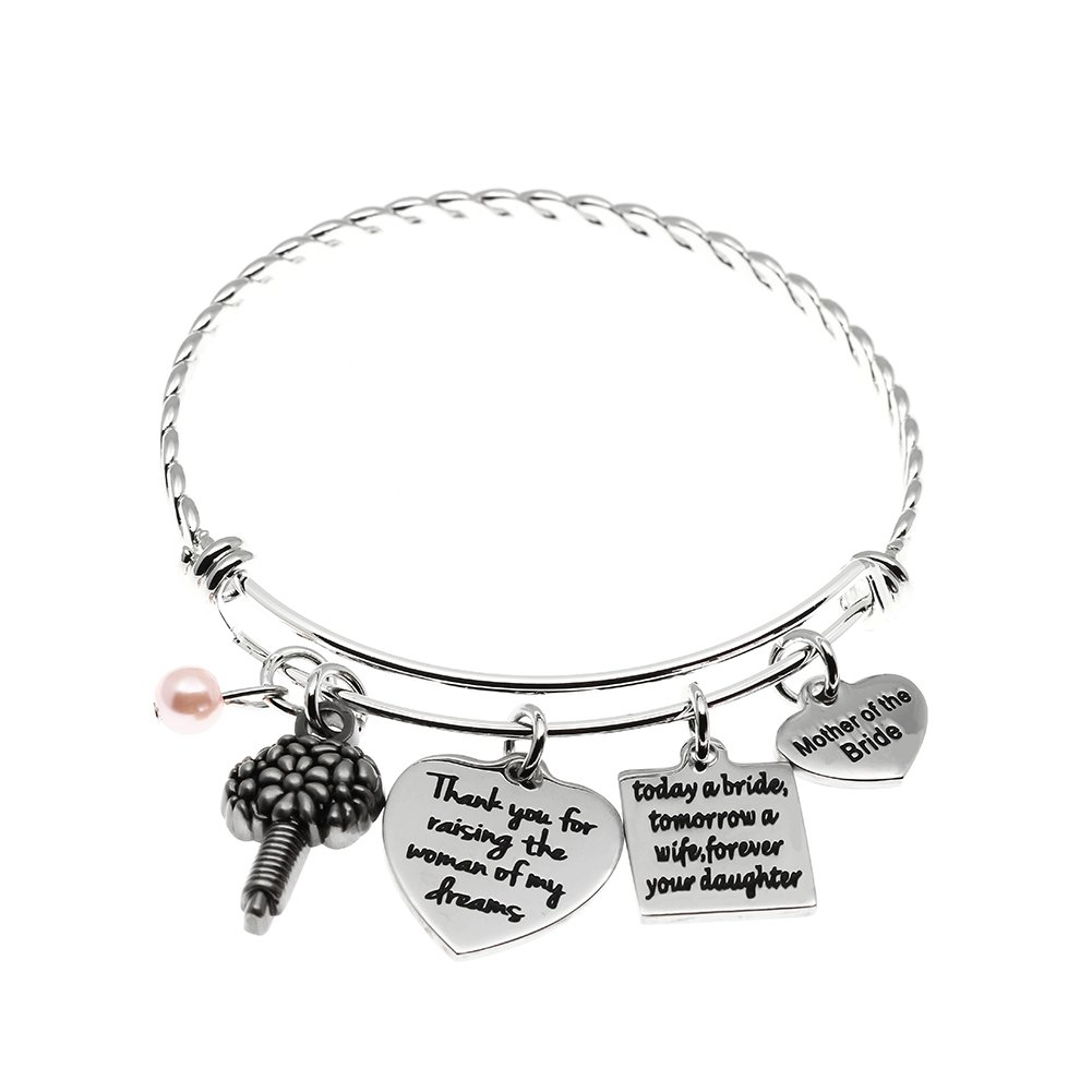 Mother of The Bride Bracelet, Today a Bride tomorrow A Wife Forever Your Daughter Bangle, Wedding Gift for Mother From Daughter.