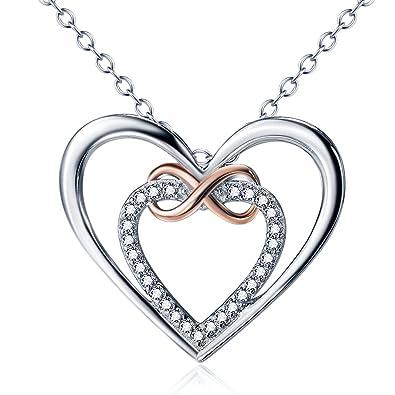 Jösva Damen Halskette,Endlose Liebe   925 Sterling Silber Rosegold Doppelt  Herz und Unendlichkeit 142d7c081a