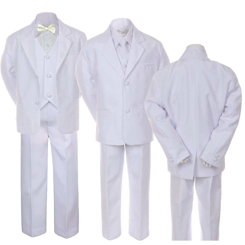 6pc Boy Wedding Baptism Graduation White Vest Suit Set Ivory Satin BowTie Sm-20