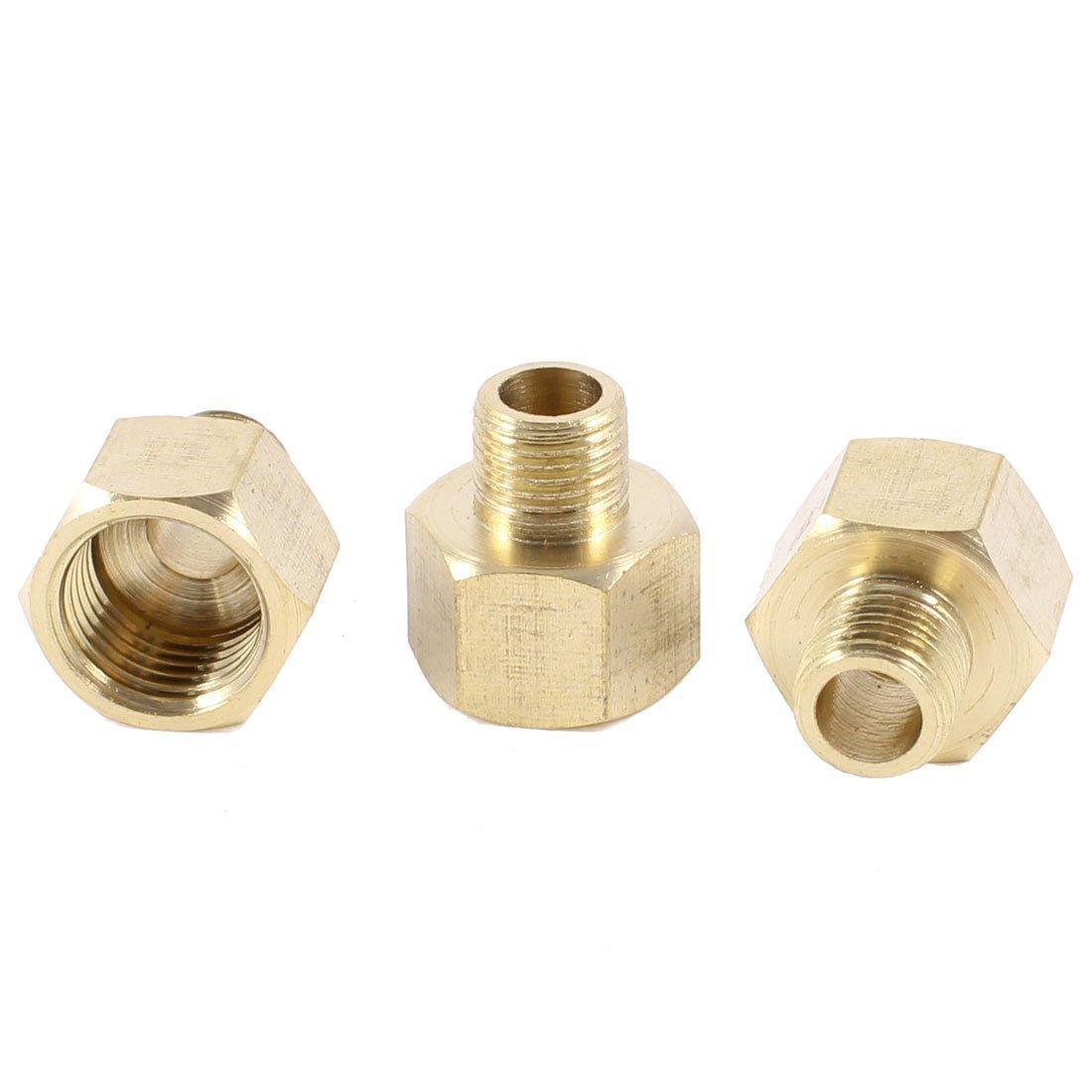 3pzs 1//8PT x 1//4PT macho a hembra Adaptador accesorios de tuberia buje hexagonal roscado Conector de tuberia SODIAL R