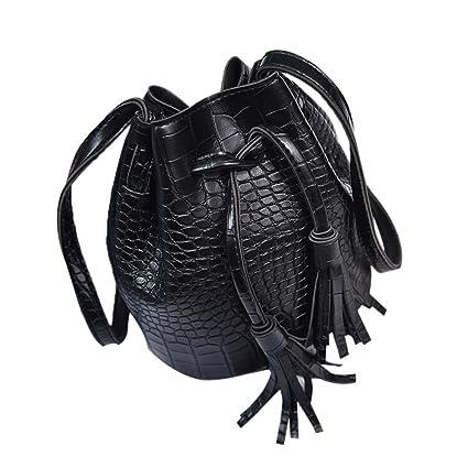 48f95eb3e67e Amazon.com  Fashion Women Leather Tassels Bucket Crossbody Shoulder ...