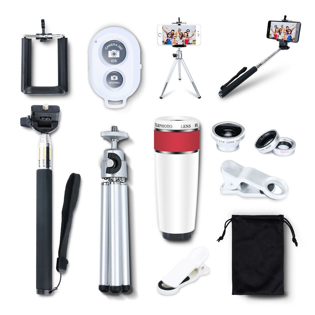 AFAITH 10-in-1 Camera Lens Kit 8x Telephoto Telescope Lens + Fish Eye Lens + Wide Angle + Macro Lens + Selfie Stick Monopod + Bluetooth Remote Control + Mini Tripod For iPhone 4S 5 5C 5S 6 6 Plus Samsung Galaxy S3 S4 S5 S6 Edge Note 2 3 4 HTC Nokia a PA051