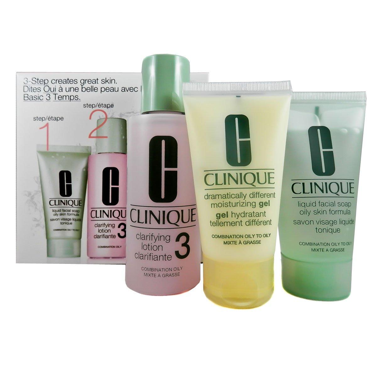 Clinque Sistema in 3 Fasi Tipo di Pelle 3 Clarifying Lozione Detergente 3, 30 ml & Sapone Liquido, 30 ml & Dramatically Different Moisturizing Gel, Viso, 125 ml Clinique 0020714644024