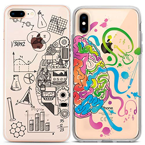 Lex Altern Couple Case iPhone Xs Max X Xr 10 8 Plus 7 6s 6 SE 5s 5 TPU Brain Sides Clear Gift Anniversary Girlfriend Phone Science Art Cover Print Protective Matching Silicone Friend Her Him BFF Cell ()