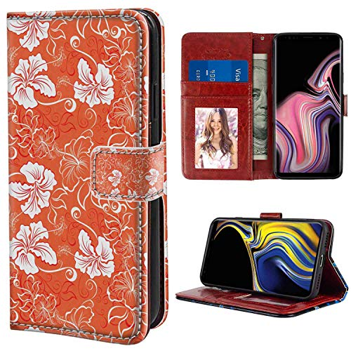 Orange Hawaiian Pattern with Tropical Climate Hibiscus Flowers Abstract Summer Flourish Orange White Wallet Phone Case Fits for Galaxy Note 9 (6.4-Inch) with Card Holder Case