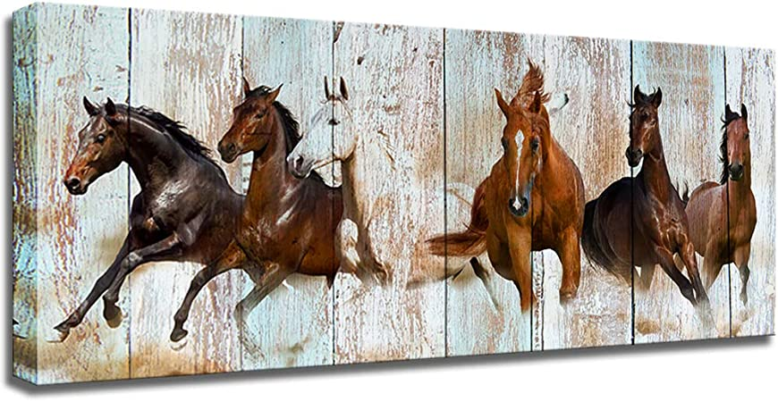 white galloping horses modern rustic//new canvas prints on wooden bars