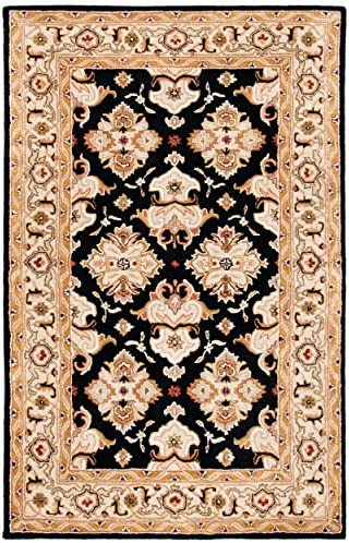 Safavieh Heritage Collection HG817A Handcrafted Traditional Oriental Black and Ivory Wool Area Rug 2 x 3