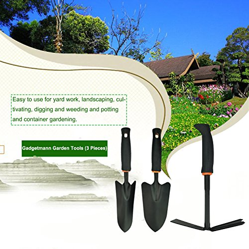 Flantor Garden Tool Set, Garden kit Tungsten Steel Shovel/Rake / Spade 3 pcs for Plant, Lawn, Garden, Bonsai