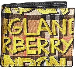 Burberry Men S Graffiti Print Check Bifold Wallet Black Yellow