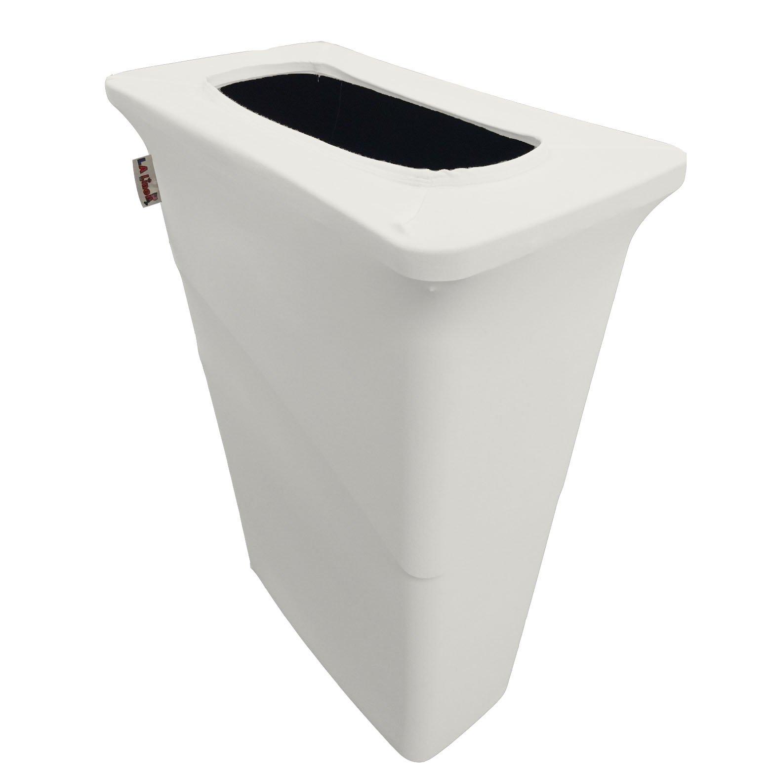 LA Linen Stretch Spandex Trash Can Cover for Slim Jim 23-Gallon, White by LA Linen