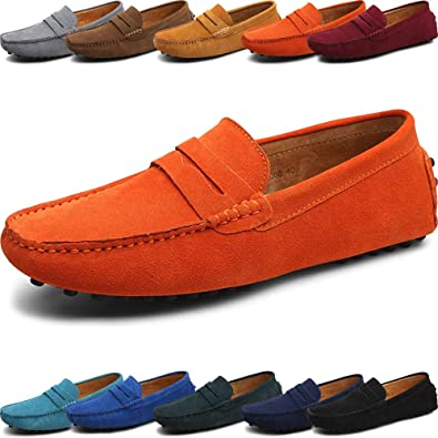 38b578aa396e Suede Genuine Leather Loafer Shoes for Men and Women – Classic Slip On –  Comfortable Male and Female Dress Shoes – Business Casual Penny Loafers –  Driving ...