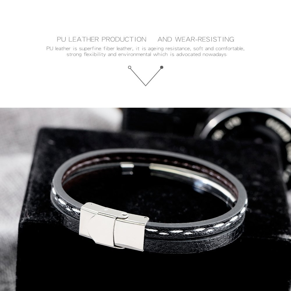 GAGAFEEL Leather Bracelet Braided Rope Cuff Custom Engraved Message Stainless Steel Bangle Unisex Gift (Engraving-Black) by GAGAFEEL (Image #4)