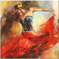YDDFSGGFDSG Top Artist Dipinto A Mano di Alta qualità Impressionista Ballerina di Flamenco Pittura Ad Olio su Tela di Canapa Flamenco Ballerino Ritratto Olio su Tela
