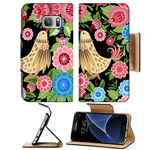 Liili Premium Samsung Galaxy S7 Flip Pu Leather Wallet Case IMAGE ID: 16432717 Texture seamless bird and flowers - Justin Bir