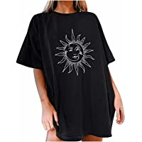 JTAISC Womens Vintage Oversized T Shirts Casual Short Sleeve Tops Teen Girls Moon and Sun Printed Blouse